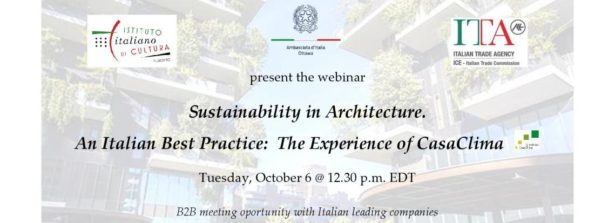 Canada, il 6 ottobre webinar 'Sustainability in Architecture.  An Italian Best Practice: The Experience of CasaClima""
