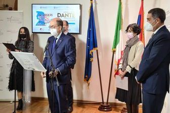 """L'Ambasciatore d'Italia a Belgrado Lo Cascio ha inaugurato la mostra """"Dante Ipermoderno"""""""