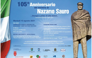 Associazione Nazionale Venezia Giulia e Dalmazia: il 10 agosto le celebrazioni commemorative del 105° anniversario del martirio di Nazario Sauro