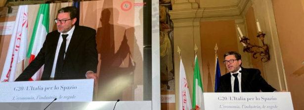 """Il ministro Giancarlo Giorgetti al convegno """"G20, l'Italia per lo Spazio"""": """"l'industria italiana è protagonista, ma per attrarre investimenti servono regole certe"""""""